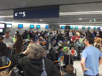 Stranded passengers at CDG Terminal 1, 22 December