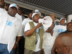 Representatives of the DRC's electoral commission in Kinshasa, 7 May. Photo: CENI