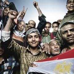 Egyptians celebrating in Tahrir Square