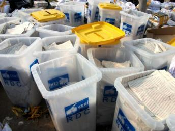 Ballot boxes at the Fikin International compilation centre in Kinshasa