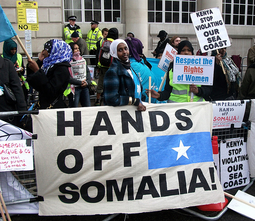 """Kenya stop violating our sea coast"" - protesters at the London conference on Somalia"